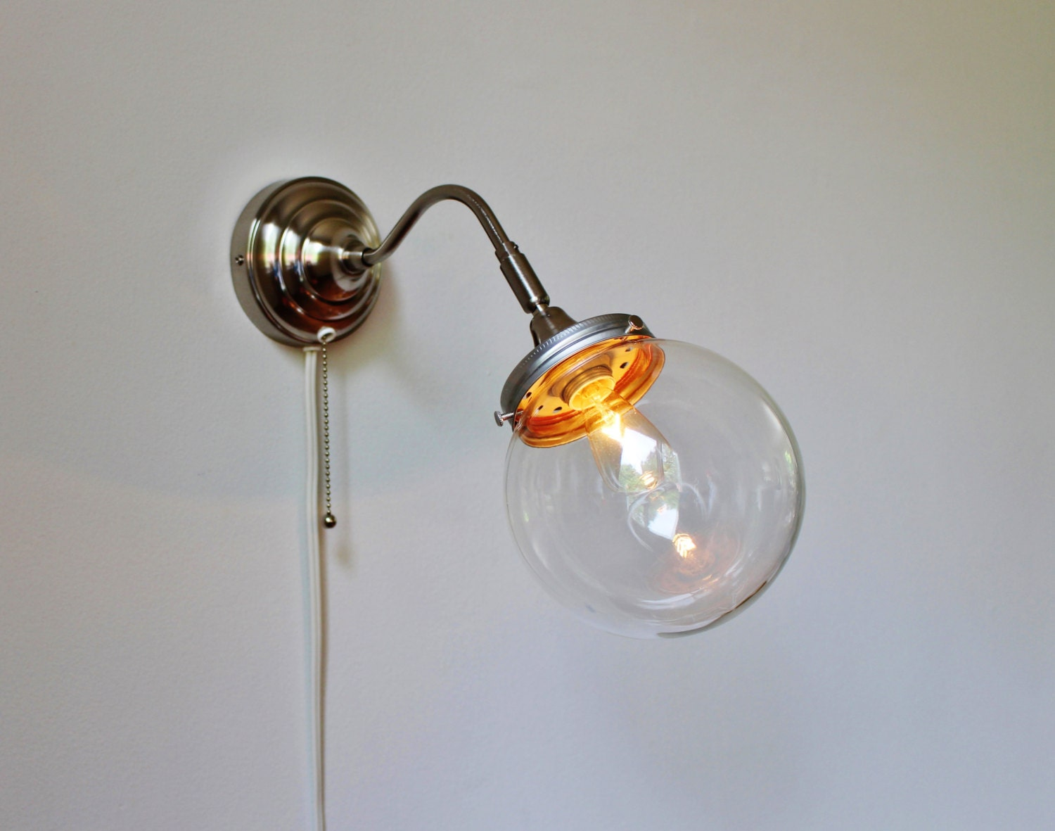 Wall Sconce With Crystal Ball : Crystal Ball Sconce Lamp Stainless Steel Gooseneck Wall
