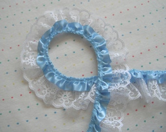 "Baby Blue Satin and White Lace Ruffle Trim, 2"" Wide - 2 Yards"