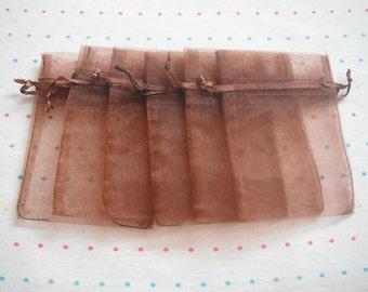 Small Brown Drawstring Organza Bags, 3x4, Gift Bags (12)