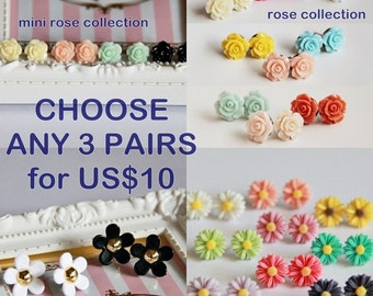 50% OFF - CHOOSE ANY 3 Pairs of Ear Studs Posts from the collection (Rose.Daisy.Sweet.Floral.Birthday)
