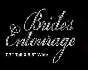 Bride's Entourage iron on rhinestone transfer bridal party applique bridesmaid bling patch