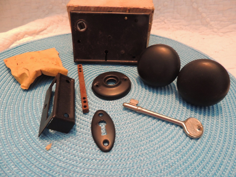 Mortise Lock Set In Box Old Fashioned Black Metal Door Knobs