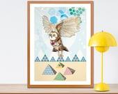 Owl and Pyramids Print