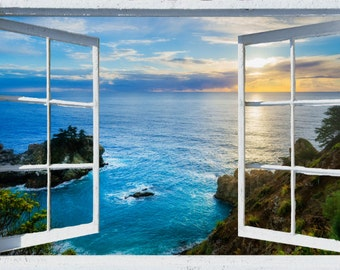 Wall mural window, self adhesive, California open window view-3 sizes available-Big Sur, McWay Falls Sunset- free US shipping