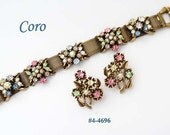 FREE SHIP Coro Jewel Encrusted Bracelet and Earrings (4-4696)