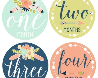 FREE GIFT, Tribal, Arrow, Baby Girl Monthly Stickers, Girl Month Stickers, Newborn Bodysuit, Floral,  Arrows, Feathers, Wilderness Nursery