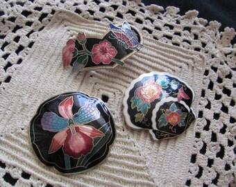 Lot of 3 Vintage Enamel Scarf Slides Clips Accessories
