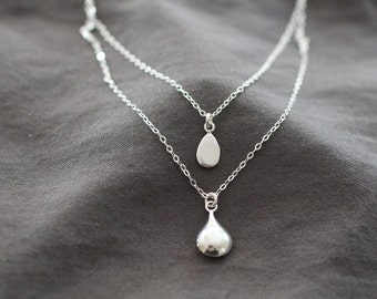 two tier necklace, double strand, layering necklace, multi chain, sterling silver, delicate layers, dainty necklace bridesmaids wedding, N81