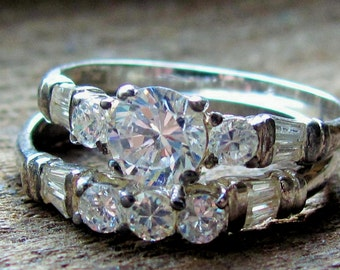 Vintage Sterling Silver and Palladium Filled Size 10 Wedding Ring Set with Gorgeous CZ's