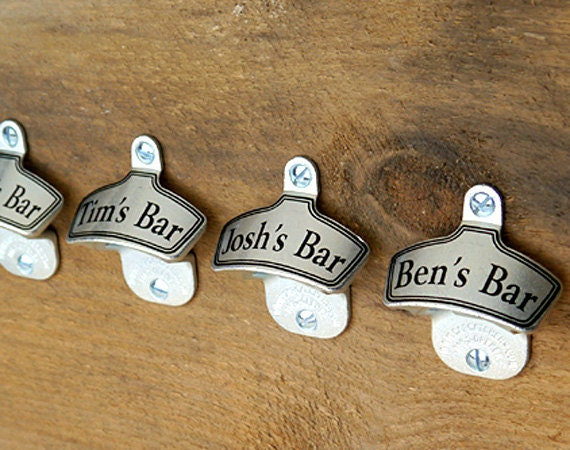 beer groomsmen gifts personalized wall mount bottle opener. Black Bedroom Furniture Sets. Home Design Ideas