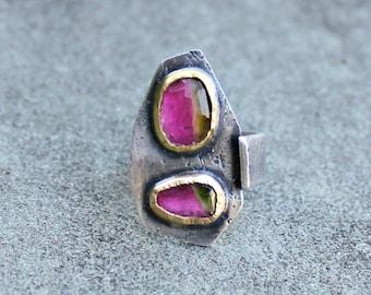 Watermelon Tourmaline Ring - Rose Cut Tourmaline Ring - Double Stone Ring - Watermelon Tourmaline Gold Bezel Ring - Tourmaline Sterling Ring