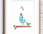 Singing Bird, Bible Verse art print, scripture design, hand lettered typography, wall art decor, Psalms 13:6