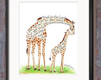 Inspirational art print Giraffe and Baby