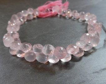 Rose Quartz faceted Onion Briolettes, full strand 8 inches, 7mm (6m40)