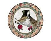Whimsical Vintage Portrait : Large Pocket Mirror ... Fancy Mr Fox