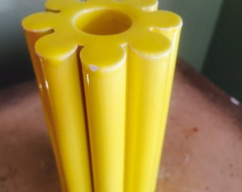Mid Century Modern Yellow flower Candle holder Italy