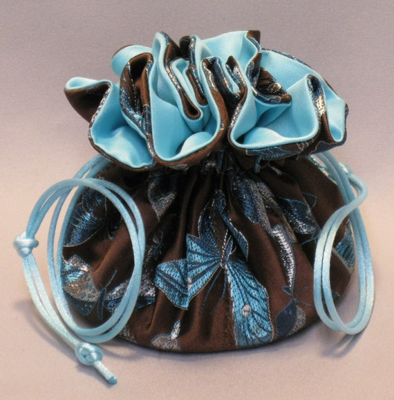Jewelry Travel Tote---8 Pocket Drawstring Organizer Pouch---Butterfly Party Satin Brocade---Medium Size