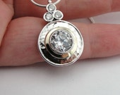 """Round Zircon pendant, 925 silver and Gold pendant, Yellow gold, gift for her,   chain 16"""" (ms p1303)"""