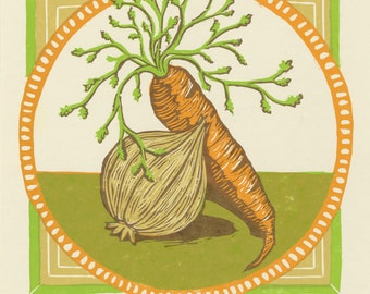 Carrot Loves Onion Woodcut Print