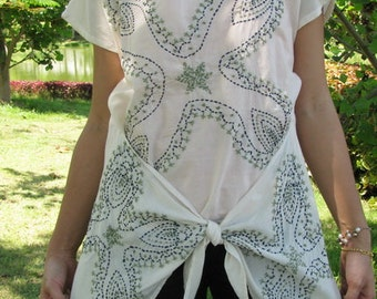 BUY 1 GET 2 FREE--M010--The flower wing(Cotton blouse with flowers embroidery)