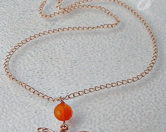 Rose gold chain necklace/ Dragonfly pendant necklace / butterflies carnelian earrings/