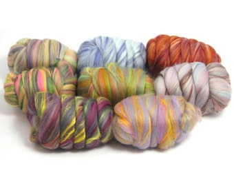 Heidifeathers Bamboo and Merino Blended Wool Tops Mixed Pack,  or Single Wool Colours