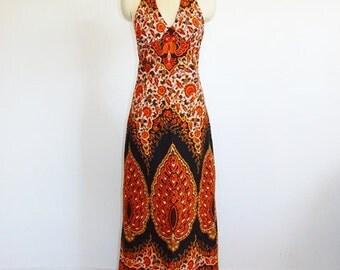 70s gorgeous DASHIKI Halter MAXI dress backless size small