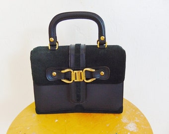 60s Navy Box purse handbag with gold hardware Made in Spain