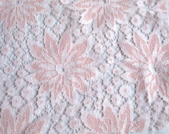 Vintage Fabric - Pink and White Flower Lace - 35 x 36