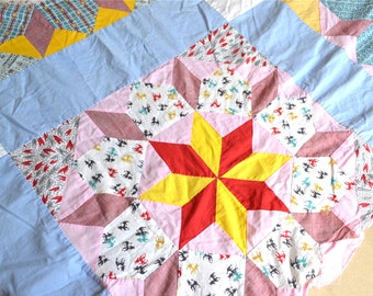 Vintage Quilt Top - Star Flowers - 74 x 96