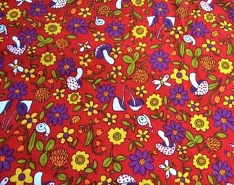Vintage Fabric - Mod Mushroom Hawaiian Crepe - 45 x 40