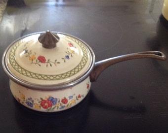 Sale Floral Enamelware 2 Quart Sauce Pot