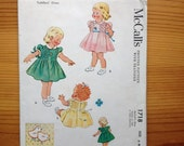 1950's McCall's sewing pattern #1718 baby infant girls children dress size 6 months