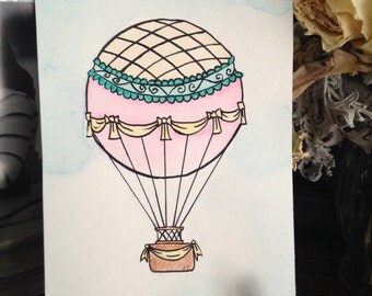 Whimsical Hot Air Balloon, original watercolor painting