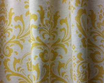 """RTS one curtain panel 50"""" W x 88L Traditions damask damask corn yellow on linen"""