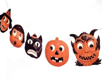 Vintage Halloween Garland-vintage German diecut reproductions on felt