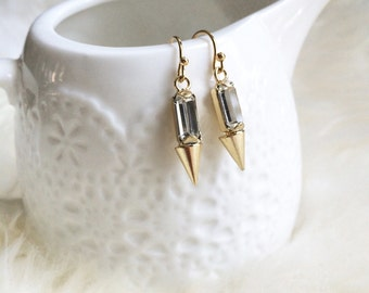 Rhinestone Spike Earrings -- gold or silver