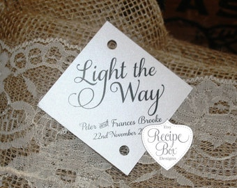 Custom Wedding Sparkler Tags, Light the way, Rustic Wedding Tags, Personalized Sparkler Tag, Sparklers, Sparkler Tag, Let Love Sparkle, Tags