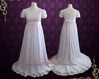 Regency Edwardian Style Lace Wedding Dress with Empire Waist | Harriet
