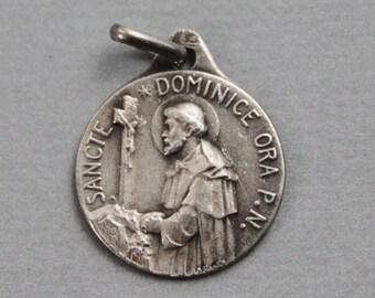 RARE St Dominic Medal / Antique French Catholic Pendant signed Karo