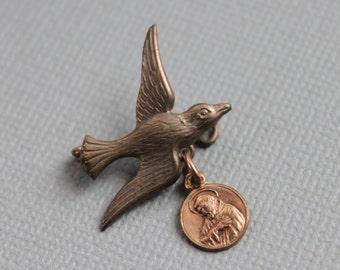 Antique Swallow Brooch / Religious Medal Souvenir Bird Pin / Saint Francis