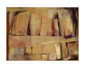 Mixed Media Collage- Large Abstract- Mixed Media on Paper- Brown, Gold Metallic- 22x30- Group Hug- Fine Art