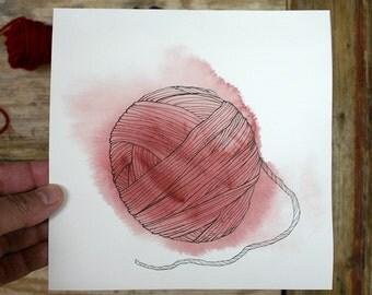 Red Yarn Painting- Original Watercolor  Pen Ink- 7 x 7- Watercolour Painting- Pen and Ink Drawing- Yarn-  Red, White