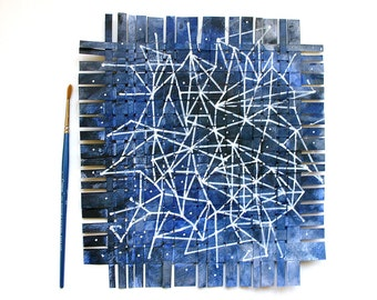 Star Chart Paper Mobile-  Paper Weaving- Two Sided- Dark Blue- Constellation, Night Sky- Acrylic,Gouache- 9x10- Nursery Art- Wall Weave