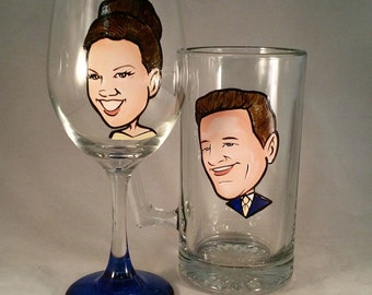 Fun Engagement Gift - Original Caricature Wine Glasses (tm) - Hand Painted Glasses -Best Man - Maid of Honor