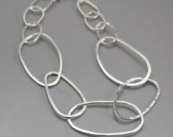 Chunky Silver Chain Necklace - Huge Hammered Sterling Silver Link Choker - Modern Silver Jewelry - Big Silver Necklace - Statement Necklace