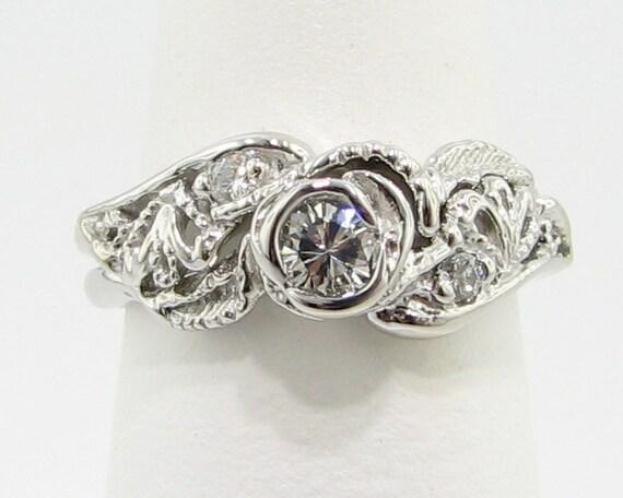 Lacy Tea Rose Wedding Set: 14k Gold & Diamond - Made To Order