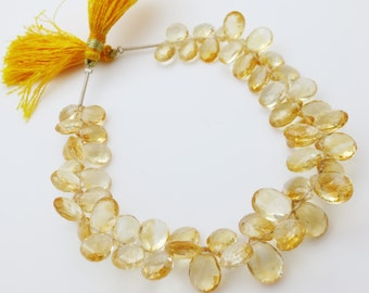 Citrine Faceted 8x10mm-6x12mm  Briolettes Qty 25