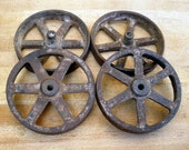 Set of 4 Antique Mini Iron Wheels Steampunk Re-purposing Supplies