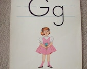 "SALE Vintage Alphabet Flashcard 14"" by 11"" Letter G for Girl by Milton Bradley Was 8.00"